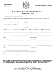 """Request for Letters of Certification/Clearance"" - Delaware"