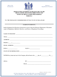 "Form D-2 ""Designation of Person to Receive Delaware Regulations, Bulletins, Directives and Notice of Regulatory Proceedings"" - Delaware"