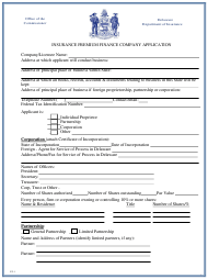 "Form PF-1 ""Insurance Premium Finance Company Application"" - Delaware"