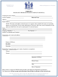 "Form PF-2 ""Insurance Premium Finance Company Renewal"" - Delaware"