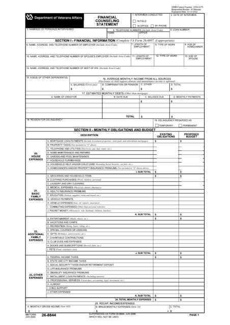 VA Form 26-8844  Printable Pdf