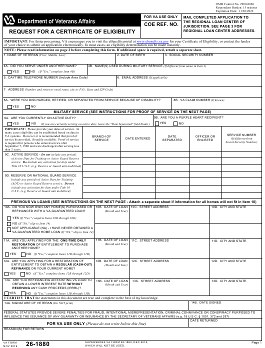 Va Form 26 1880 Download Fillable Pdf Or Fill Online Request For A Certificate Of Eligibility Templateroller