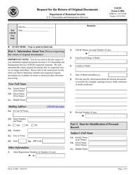 "USCIS Form G-884 ""Request for the Return of Original Documents"""