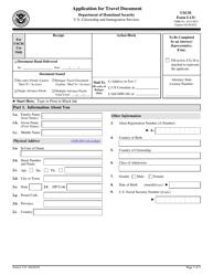 """USCIS Form I-131 """"Application for Travel Document"""""""