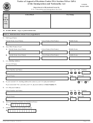"""USCIS Form I-694 """"Notice of Appeal of Decision Under Sections 245a or 210 of the Immigration and Nationality Act"""""""