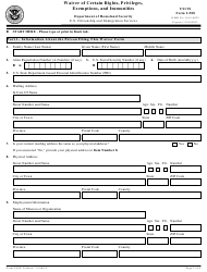 "USCIS Form I-508 ""Request for Waiver of Certain Rights, Privileges, Exemptions and Immunities"""