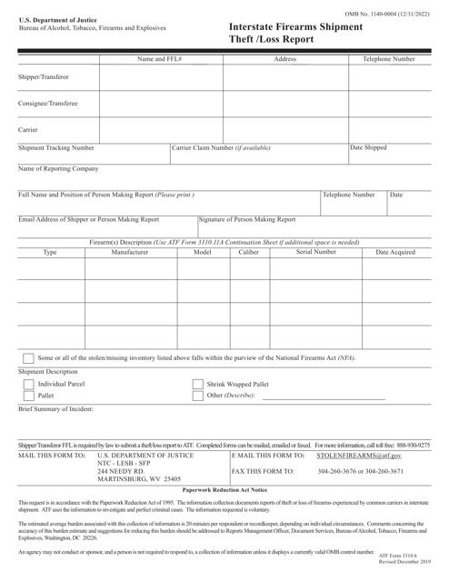 ATF Form 3310.6 Printable Pdf