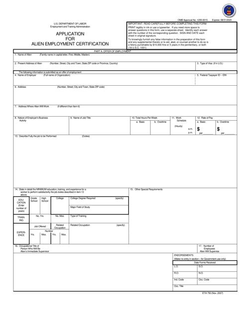 Form ETA-750A  Printable Pdf