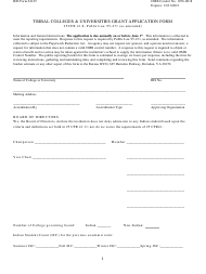 """BIE Form 62107 """"Tribal Colleges & Universities Grant Application Form"""""""