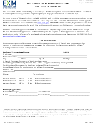 "Form EIB92-64 ""Application for Exporter Short-Term, Single-Buyer Insurance"""