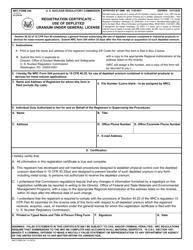 """NRC Form 244 """"Registration Certificate - Use of Depleted Uranium Under General License"""""""