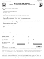 """FWS Form 3-154 """"State Fish and Wildlife Agency Hunting and Sport Fishing License Certification"""""""