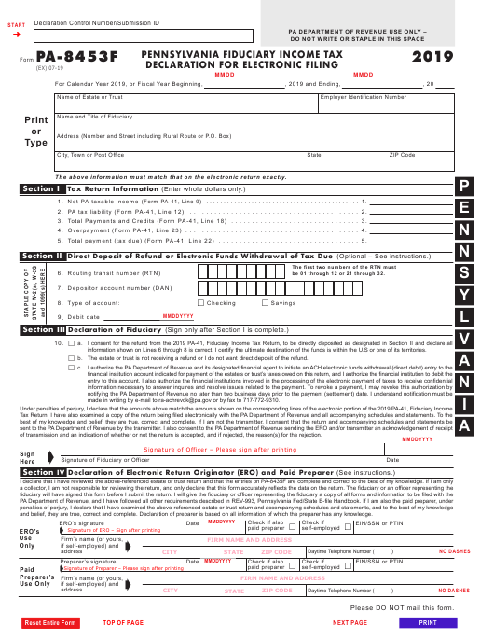 Form PA-8453F 2019 Printable Pdf