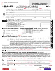 "Form PA-8453F ""Pennsylvania Fiduciary Income Tax Declaration for Electronic Filing"" - Pennsylvania"
