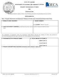 """ADECA Form ENV-RROFC """"Request for Release of Funds and Certification"""" - Alabama"""