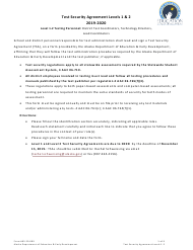 "Form 05-20-009 ""Level 1 & 2 Test Security Agreement"" - Alaska, 2020"