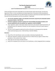 "Form 05-20-011 ""Level 4 Test Security Agreement"" - Alaska, 2020"