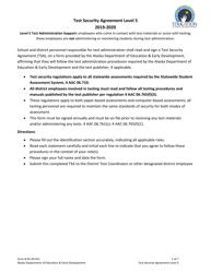 "Form 05-20-012 ""Level 5 Test Security Agreement"" - Alaska, 2020"