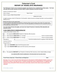 "Form 07-6119 ""Fishermen's Fund Report of Vessel/Site Insurance"" - Alaska"