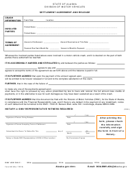"Form 465 ""Settlement Agreement and Release"" - Alaska"