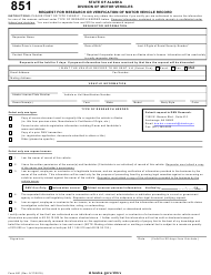 "Form 851 ""Request for Research or Verification of Motor Vehicle Record"" - Alaska"