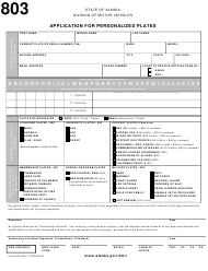 "Form 803 ""Application for Personalized Plates"" - Alaska"