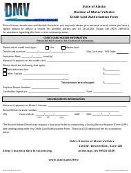 "Form 610 ""Credit Card Authorization Form"" - Alaska"