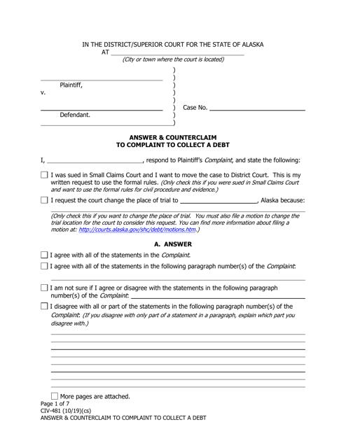 Form CIV-481  Printable Pdf