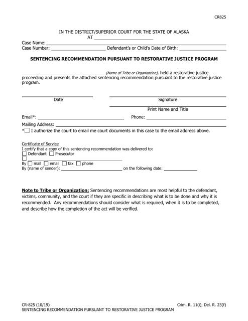 Form CR-825  Printable Pdf
