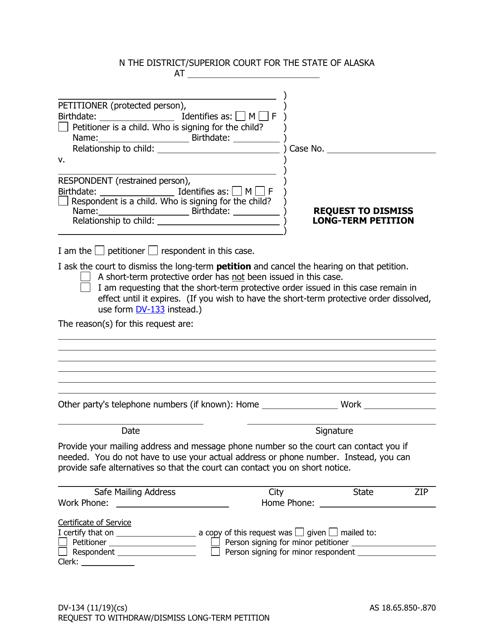 Form DV-134  Printable Pdf