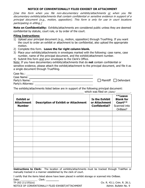Form TF-202  Printable Pdf