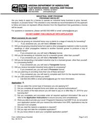 """Industrial Hemp Program Checklist"" - Arizona"
