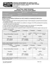 """Industrial Hemp Program Additional Location Supplement"" - Arizona"