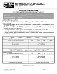 """Industrial Hemp Program Additional Storage Location Supplement"" - Arizona"