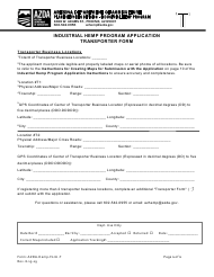 """Industrial Hemp Program Application Transporter Form"" - Arizona"