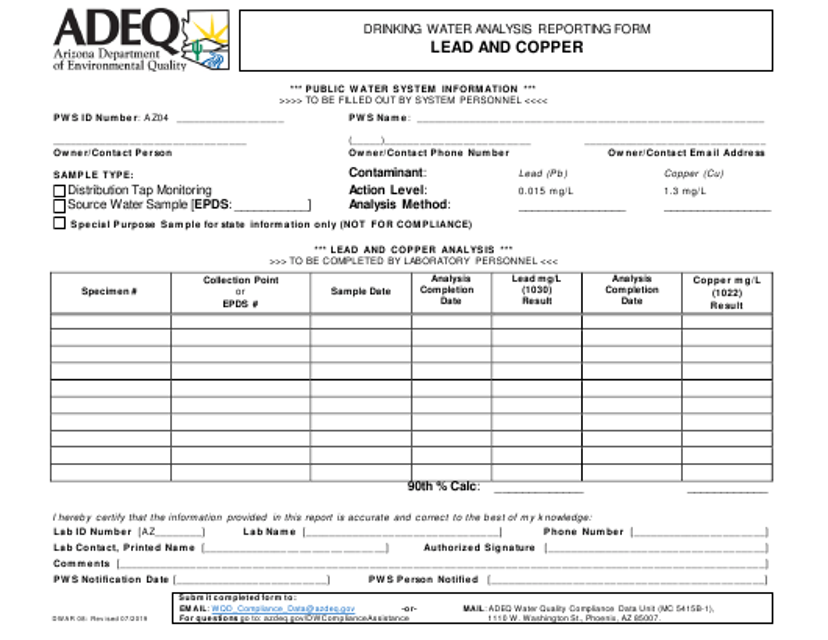 Form DWAR08  Printable Pdf