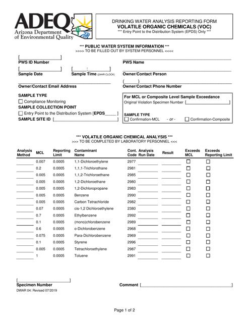 Form DWAR04  Printable Pdf