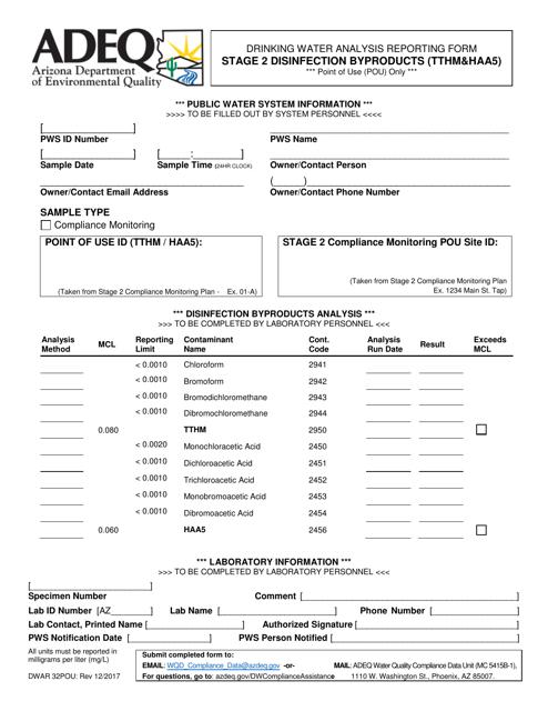 Form DWAR32POU  Printable Pdf