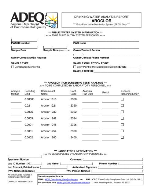 Form DWAR3A  Printable Pdf
