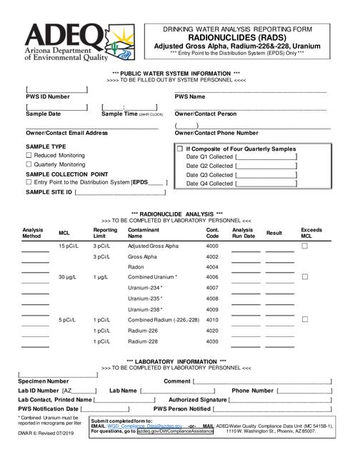 Form DWAR6  Printable Pdf