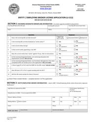 "Form LI-212 ""Entity / Employing Broker License Application"" - Arizona"
