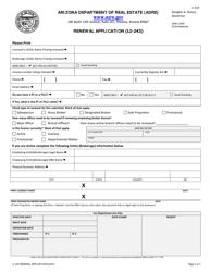 "Form LI-243 ""Renewal Application"" - Arizona"