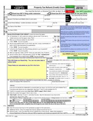 "Arizona Form 140PTC (ADOR10567) ""Property Tax Refund (Credit) Claim"" - Arizona, 2019"