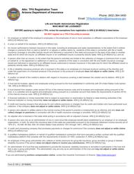 "Form E-100 ""Application for Life and Health Administrator Registration"" - Arizona"