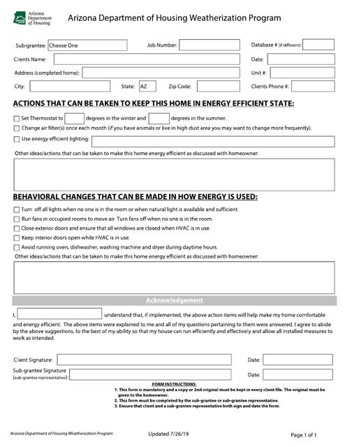 """""""Household Action Plan"""" - Arizona Download Pdf"""