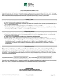 """Clients Rights & Responsibilities Form"" - Arizona"