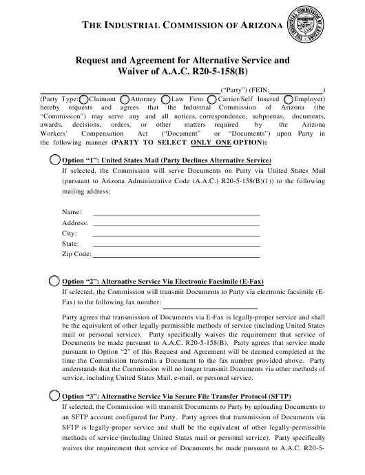 """Request and Agreement for Alternative Service and Waiver of a.a.c. R20-5-158(B)"" - Arizona Download Pdf"