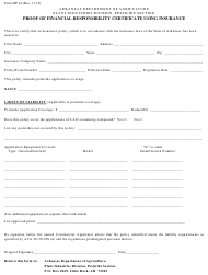 """Form DP-44 """"Proof of Financial Responsibility Certificate Using Insurance"""" - Arkansas"""