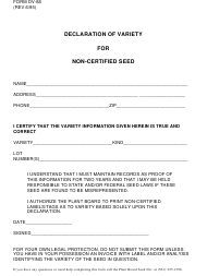 """Form DV-88 """"Declaration of Variety for Non-certified Seed"""" - Arkansas"""