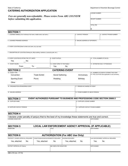 Form ABC-218 Printable Pdf